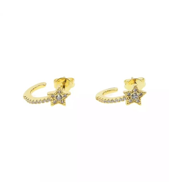 Gold Star Half Hoop Earrings