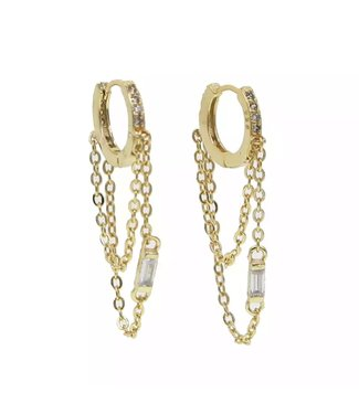 Gold Rhinestone Chains Earrings