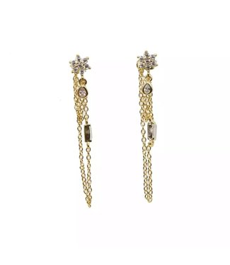 Gold Flower Chains Earrings
