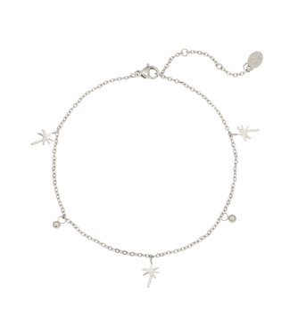 Silver Palm Tree Beads Anklet