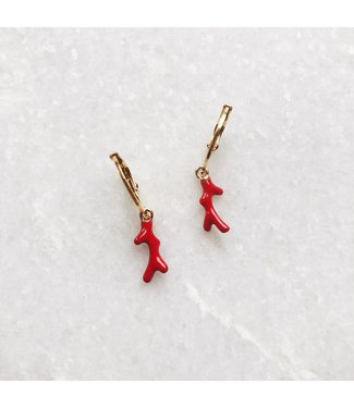 Gold Colourful Coral Earrings / Red