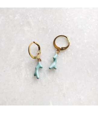 Gold Colourful Coral Earrings / Blue