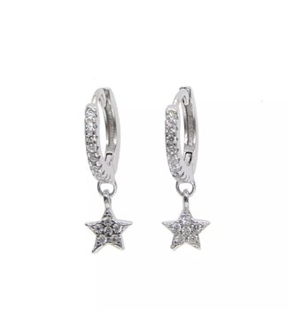 Silver Star Rhinestone Earrings