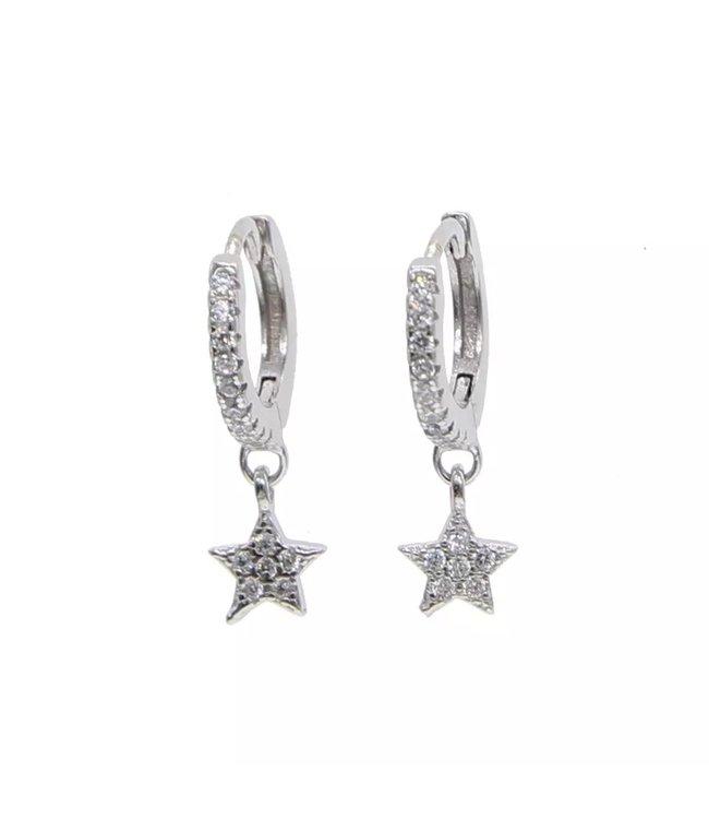 Silver Star Rhinestone Earrings