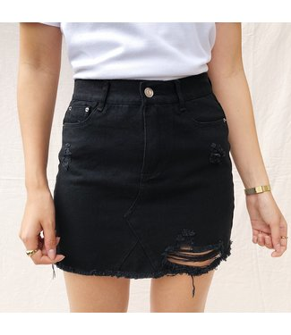 Hailey Denim Skirt / Black