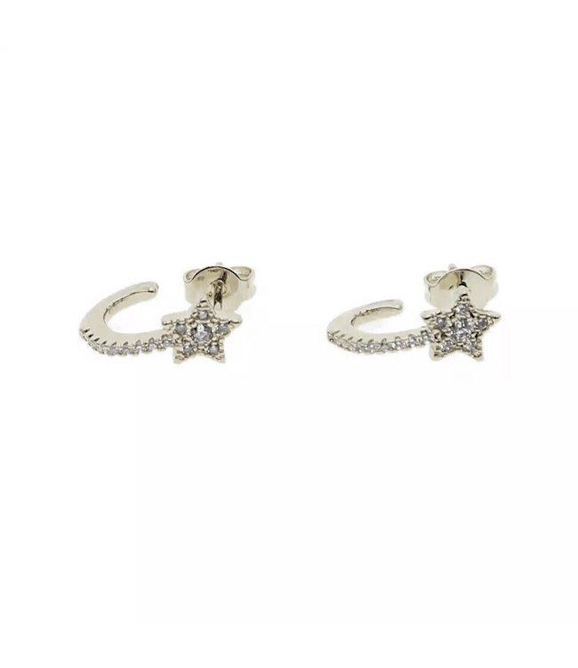 Silver Star Half Hoop Earrings
