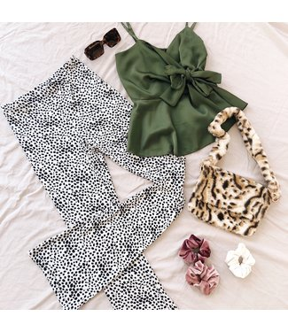 Alexis Cheetah Flared Leggings / White