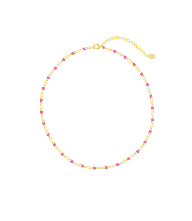 Colourful Beads Choker Necklace / Pink
