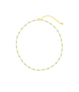 Colourful Beads Choker Necklace / Turquoise