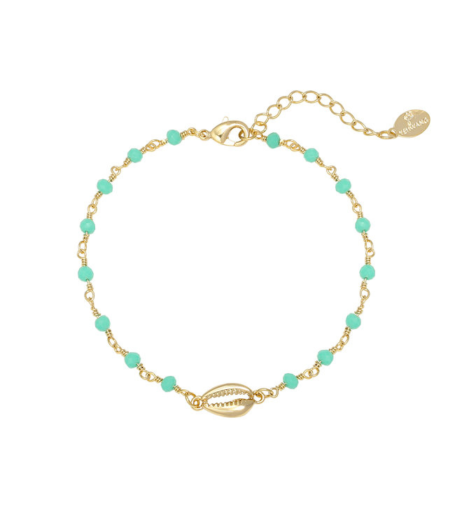 Gold Shell Beads Bracelet / Turquoise