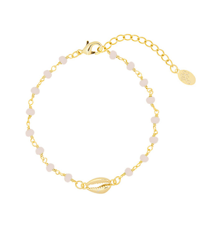Gold Shell Beads Bracelet / Light Pink