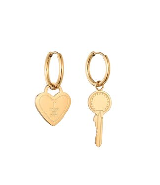 Gold Unlock My Heart Earrings
