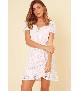 Joane Broderie Anglais Dress / White