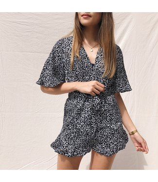 Erika Leopard Playsuit / Black