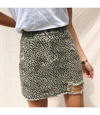 Alexis Printed Cheetah Skirt / Army