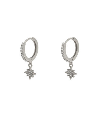 Silver North Star Rhinestone Earrings
