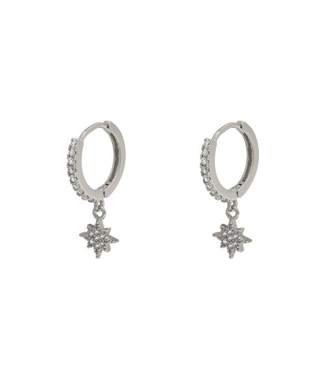Silver North Star Rhinestone Earrings