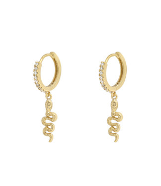 Gold Sparkle Snake Earrings