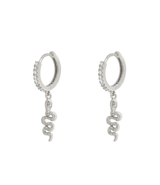 Silver Sparkle Snake Earrings