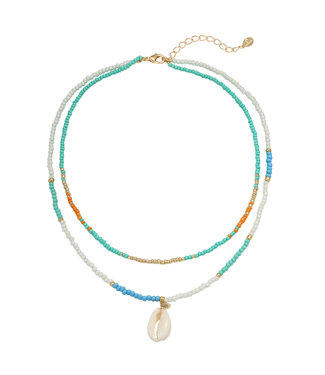 Azure Shell Beads Necklace / Blue