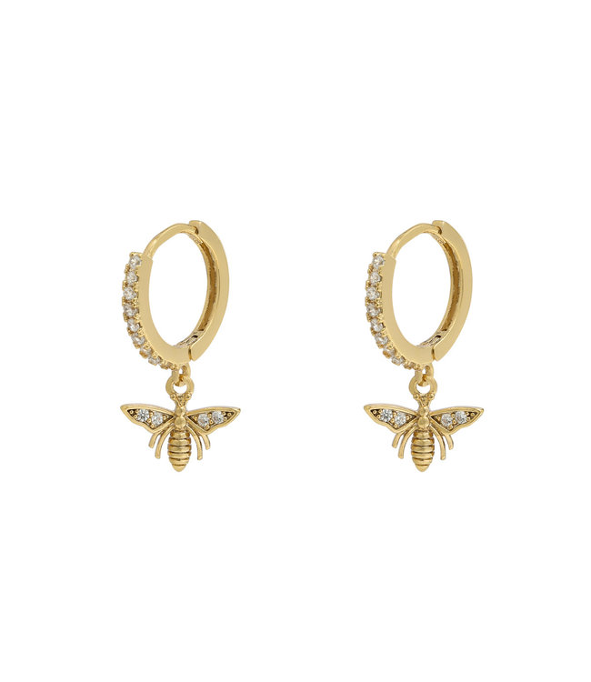 Gold Wasp Rhinestone Earrings