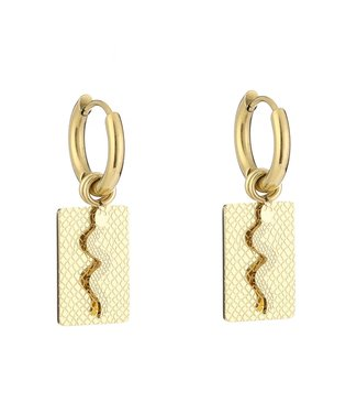 Gold Snake Tag Earrings