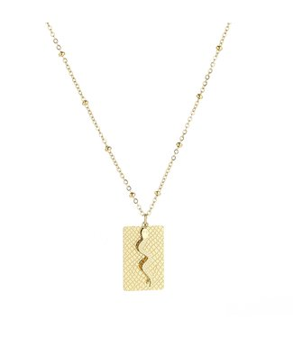 Gold Snake Tag Necklace