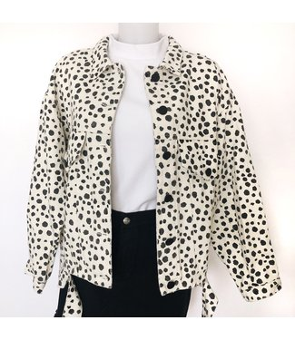 Moona Printed Dots Jacket / Off white