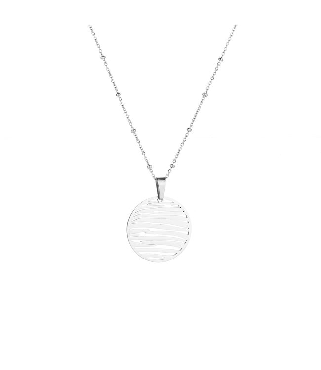 Silver Sunset Coin Necklace