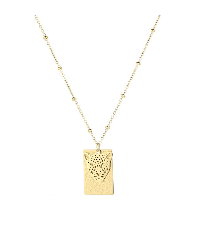Gold Pantera Tag Necklace
