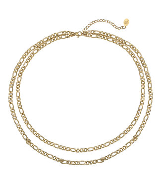 Gold Double Figaro Chain Necklace