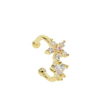 Gold Flower Rhinestone Earcuff