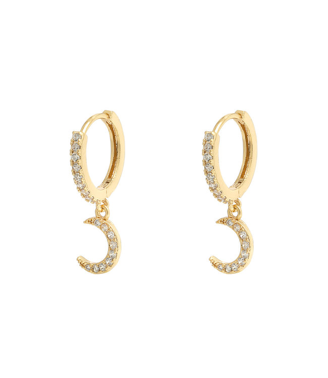 Gold Shiny Moon Earrings