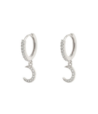 Silver Shiny Moon Earrings