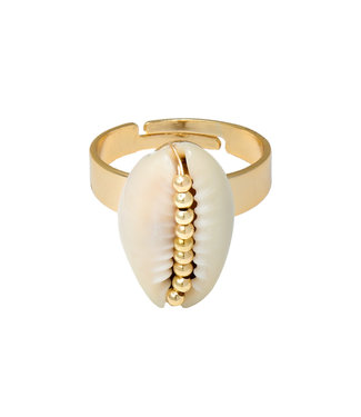 Gold Shell Beads Ring