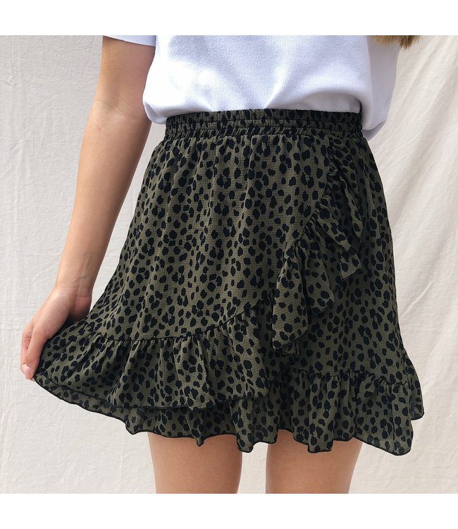 Lucy Leopard Skirt / Army
