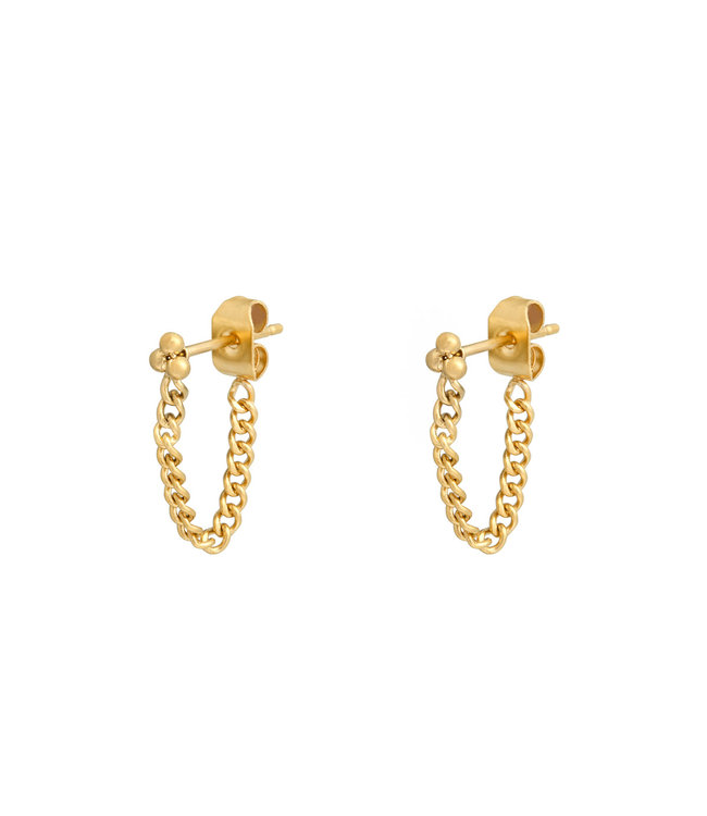 Gold Dots Chain Earrings