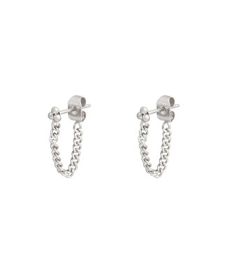 Silver Dots Chain Earrings