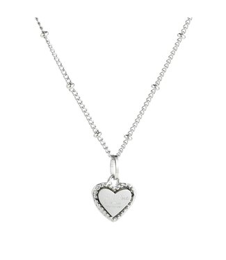 Silver Je T'aime Heart Necklace