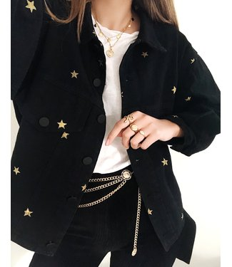 Nova Printed Star Jacket / Black & Gold