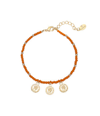 Colourful Beads Coin Bracelet / Orange