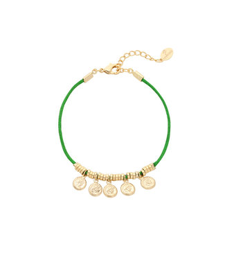 Colourful Five Coin Bracelet / Green