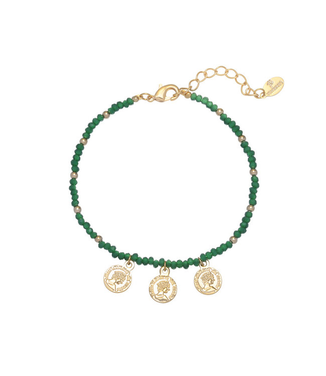 Colourful Beads Coin Bracelet / Green