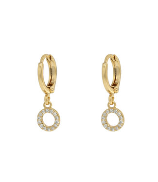 Gold Sparkle Circle Earrings