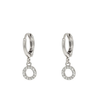 Silver Sparkle Circle Earrings