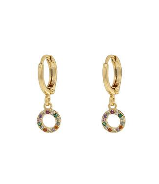 Rainbow Sparkle Circle Earrings