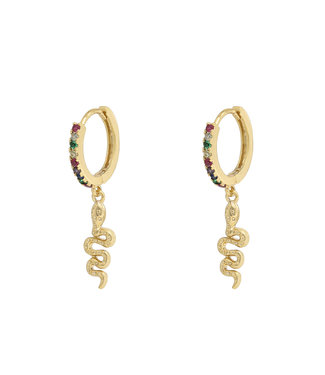 Rainbow Sparkle Snake Earrings