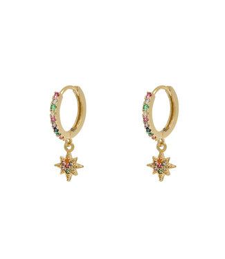 Rainbow North Star Rhinestone Earrings