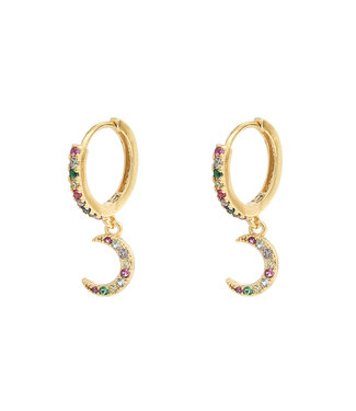 Rainbow Shiny Moon Earrings