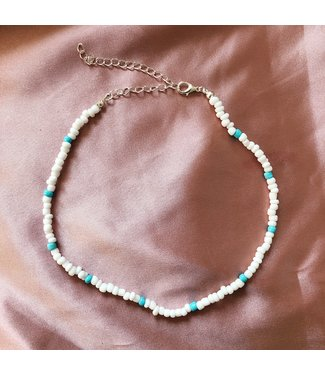 Beads Choker Necklace / White & Turquoise